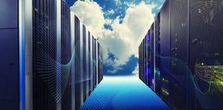 Conceptuele visie van Datacenter op de wolk Gegevensverwerking stock fotografie