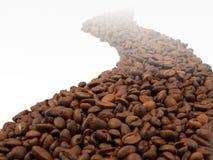 Conceptuele weg die van koffiebonen wordt gemaakt Stock Fotografie
