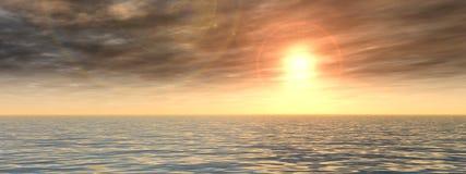 Conceptuele zeewater en zonsonderganghemelbanner Royalty-vrije Stock Afbeelding
