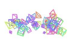 Concepture геометрическое, пук треугольника или квадрат, летание, блокировать для текстуры дизайна, предпосылка E иллюстрация вектора