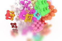 Concepture стиля молекулы, блокировать квадрат или пирамиды, для текстуры дизайна & предпосылки перевод 3d иллюстрация штока