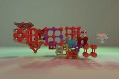 Concepture стиля молекулы, блокировать квадрат или пирамиды, для текстуры дизайна & предпосылки перевод 3d бесплатная иллюстрация