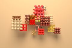 Concepture стиля молекулы, блокировать квадрат или пирамиды, для текстуры дизайна & предпосылки перевод 3d иллюстрация вектора