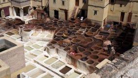 Conceria di cuoio tradizionale in Fes, Marocco stock footage