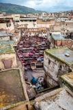 Conceria in Fes Marocco immagine stock