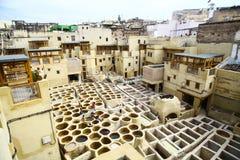 Conceria a Fes, Marocco Fotografia Stock