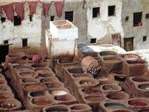 Concerie di Fes, Marocco Immagine Stock
