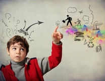 Concern for the environment. Child worried about the future and ecological environment Royalty Free Stock Photo
