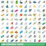 100 concern icons set, isometric 3d style. 100 concern icons set in isometric 3d style for any design vector illustration Stock Images