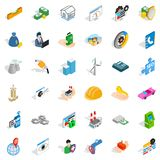 Concern icons set, isometric style. Concern icons set. Isometric style of 36 concern vector icons for web isolated on white background Royalty Free Stock Photography