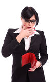 Concerned business woman with money and wallet Royalty Free Stock Photography