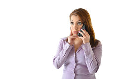 Concerned Business Woman. Talking on the phone Royalty Free Stock Photos