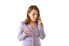Concerned Business Woman. Talking on the phone Stock Image