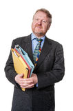 Concerned businessman with folders - on white Royalty Free Stock Photos
