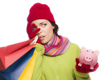 Concerned Expressive Mixed Race Woman Holding Shopping Bags and Stock Image