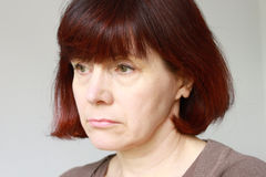 Concerned Mature Woman Portrait Royalty Free Stock Photography