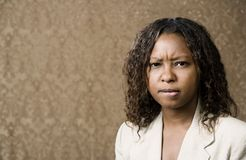 Concerned Pretty African-American Woman Royalty Free Stock Photography