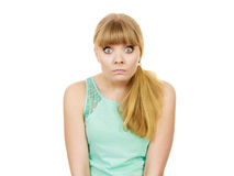Concerned scared shocked woman. Emotional facial expression wide eyed girl surprised face isolated on white stock photography