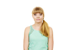 Concerned scared shocked woman. Emotional facial expression wide eyed girl surprised face isolated on white stock photos