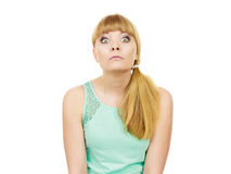 Concerned scared shocked woman. Emotional facial expression wide eyed girl surprised face isolated on white stock images