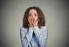 Concerned scared woman Stock Images