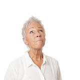 Concerned senior woman looking up Royalty Free Stock Photo