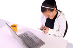 Concerned Teenage Girl Texting Royalty Free Stock Image