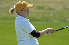 Concerned woman college golfer royalty free stock photo