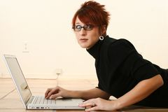 Concerned Woman with Laptop Stock Photos