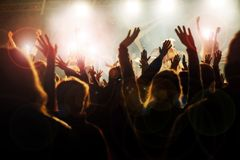 Concert. Crowd cheering at the music concert Royalty Free Stock Images