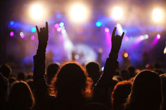 Concert. Cheering crowd at a concert Royalty Free Stock Photography