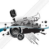 Concert. Abstract colorful illustration with black splash, arrows, black bubbles, white trumpet, old microphone and skyscrapers. Modern concert layout Stock Images