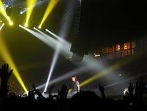 In concert. Ligabue in concert under the blue backlight. Image relating to concert Stock Photo