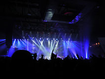 In concert. Ligabue in concert under the blue backlight. Image relating to concert Stock Photography