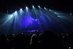 Concert. The view of the stage in blue light on the concert Royalty Free Stock Photos