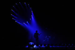 Concert. The view of the stage in blue light on the concert Royalty Free Stock Photography