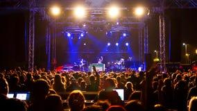 Concert. ISTANBUL - SEPTEMBER 18: Pop star Ajda Pekkan performs live during a concert at Maltepe on September 18, 2011 in Istanbul, Turkey. Concert stage on Royalty Free Stock Photos