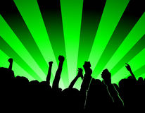 Concert. Party people illustration of an concert with green lights Royalty Free Stock Photos