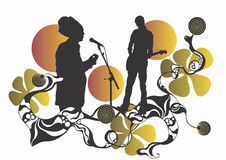 Concert. Illustration of a singer and a guitarist Stock Photography