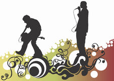 Concert. Illustration of a singer and a guitarist Royalty Free Stock Photography