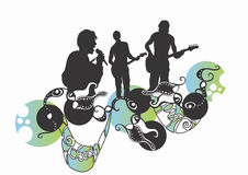 Concert. Illustration of a singer, a guitarist and a bass player Stock Photo