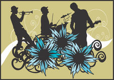 Concert. Illustration of a drummer, a trumpeter and a guitarist Royalty Free Stock Images