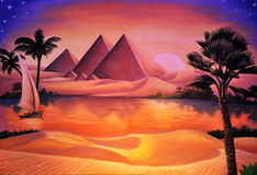 Concert backdrop. Painted concert backdrop of ancient Egypt and Nile River Stock Images