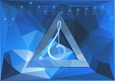 Concert background. Silhouette of notes on blue dark background Stock Photo