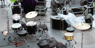 Concert backstage. With musical instruments and sound equipment Royalty Free Stock Photography