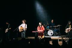 Concert of the Belarusian indie pop duo NAVI , also called Naviba. Gomel, Belarus - March 17, 2017: Concert of the Belarusian indie pop duo NAVI, also called stock photos