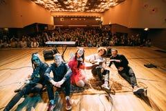 Concert of the Belarusian indie pop duo NAVI , also called Naviba. Gomel, Belarus - March 17, 2017: Concert of the Belarusian indie pop duo NAVI , also called royalty free stock image