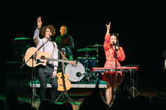 Concert of the Belarusian indie pop duo NAVI, also called Naviba. Gomel, Belarus - March 17, 2017: Concert of the Belarusian indie pop duo NAVI , also called stock photo