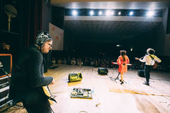 Concert of the Belarusian indie pop duo NAVI , also called Naviband. Gomel, Belarus - March 17, 2017: Concert of the Belarusian indie pop duo NAVI also called stock images