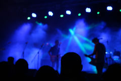 Concert blue lights. Blue lights on stage, during music concert Royalty Free Stock Photography